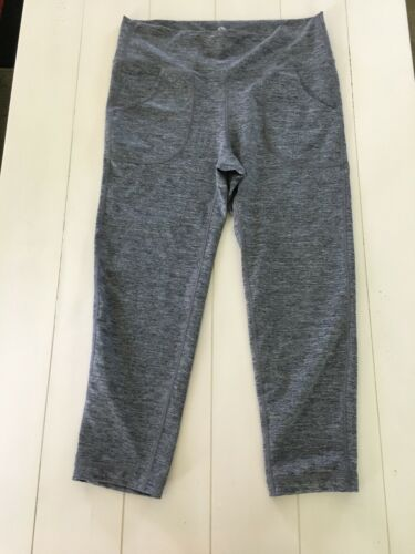 90 Degree By Reflex Women's Crop Leggings Sz M Heathered Grey W/ Pockets