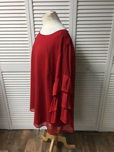"Ava & Viv Women's Red Blouse 50"" Chest Long Ruffled Sleeves Shear Cover Over Top"