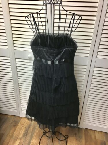 Forever 21 Women's Sz S Black Dress Ruffled Layers W/ Sequins, Spaghetti Strap