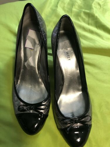 Womens Nine West Black Patent Leather Toes With Silver Embroidered Shoe Sz 8.5