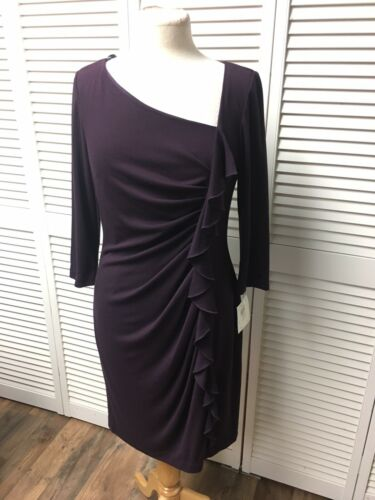 Suzi Chin & Maggy Boutique Women's Size 10 Purple Dress Pleated To One Side NWT