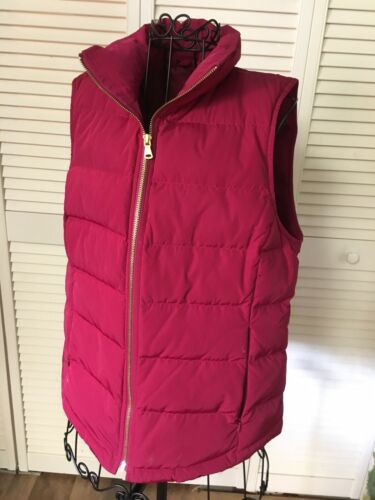 Talbots Women's Size Small Red Puffy Vest Zip Up W/ Zipper Pockets
