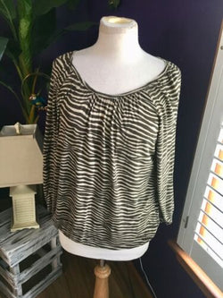 Michael Kors Women's Size P/L Long Sleeve Blouse Brown Beige Stripes