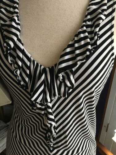 "White House Black Market Women's 35"" Chest Striped Tank Top W/ Ruffle V-Neck"