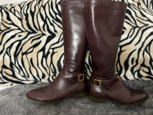 Brook Brothers Italy Burgundy Leather Knee High Riding Boots Sz 8
