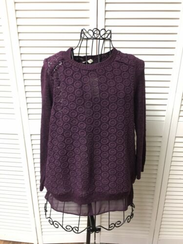 Lucky Brand Women's Size XS Long Sleeve Purple Blouse Lace Cover Shear Under NWT