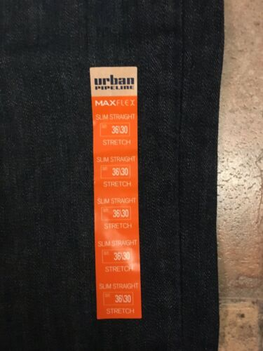 Urban Pipeline Maxflex Dark Blue Denim Jeans Slim Stright Men's 36x30 NWT