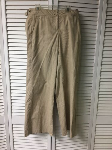 Ann Taylor Loft Petites Women's Size 4P Beige And Brown Stripped Dress Pants