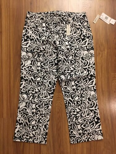 NEW Jones New York Sport Women's Sz 12 Black And White Capri Pants NWT