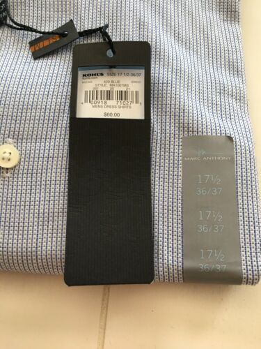 NEW Marc Anthony Mens Dress Shirt Blue Size 17 1/2 Slim Fit 36/37 NWT