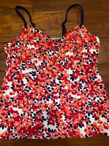Womens Lands End Floral Orange White Navy Tankini Sz12