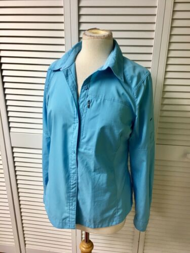 Columbia Women's Size Large Sky Blue Button Up Long Sleeve Jacket W/ Pocket