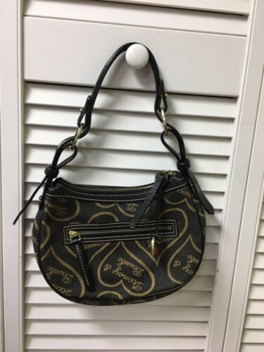 Dooney And Bourke Handbag Purse Black With Gold Hearts Zipper Closure