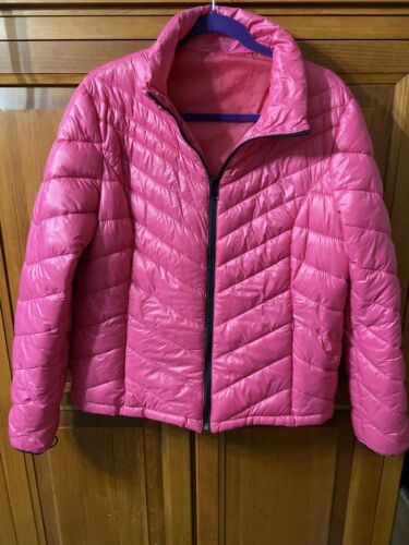 Womens Nautica Pink Puffer Winter Coat Sz Large