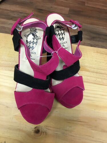 Design By Jacobies Pink/Black Strappy Heels Open Toe Buckle Ankle Women's Sz 7.5