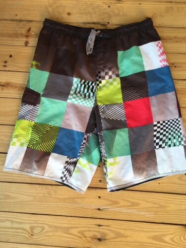 "Burnside Mens Size Medium Swim Suit Trunks Mulicolor Pattern W/ Pocket 33"" Waist"