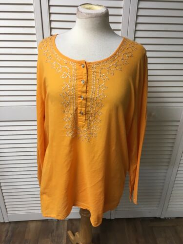 Old Navy Women's Size XXL Orange Long Sleeve Shirt Sequins Neckline W/ Buttons