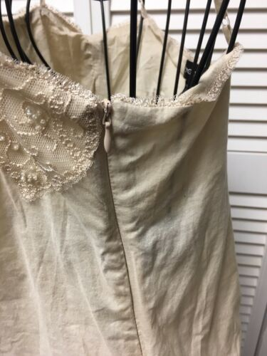 Bebe Women's Size XS Beige Spaghetti Strap Tank Top W/ Tie Side, Beaded Lace Top