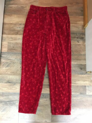 "Bill Blass Jeans Easy Fit Women's Size 29"" Waist Red Pants Velvet-Like Feel"