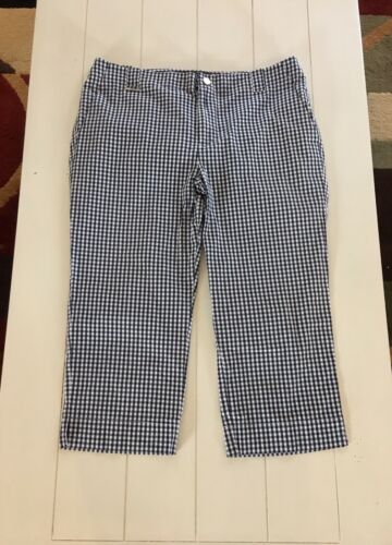 Ralph Lauren Women's Size 12 Black And White Checker Capri Pants W/ Pockets