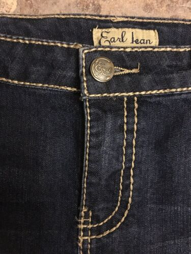 Earl Jean Women's Size 10 Dark Blue Jean Denim Skirt W/ Gemstones, Pocket Flaps