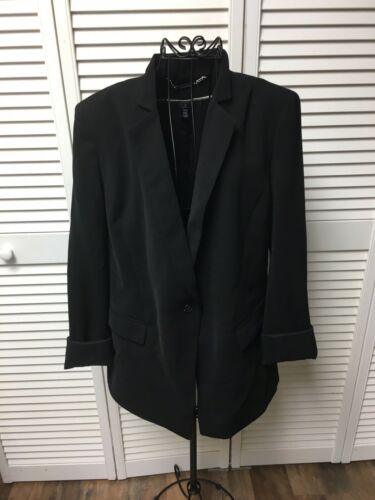 White House Black Market Women's Size 12 Black Blazer Jacket With Button