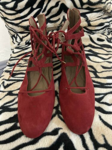 womens aerosoles Goodness Red Suede Lace Up Ballet Flats Sz 10