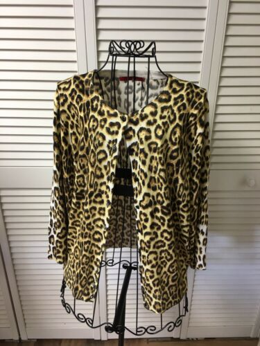 Red By Cyrus Women's Sz Large Leopard Print Long Sleeve Cardigan Button Down NWT