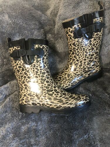 Womens Copelli Cheetah Animal Print Rain Boots Sz8