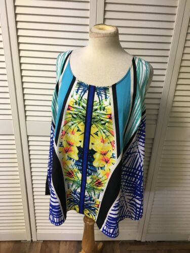 Apt. 9 Essentials Women's Size 3X Multicolor Tank Top Blouse Topical Theme