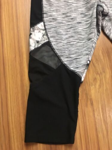 Avia Women's Size XL Athletic Workout Pants Crop Legging Heathered Grey W/ Mesh