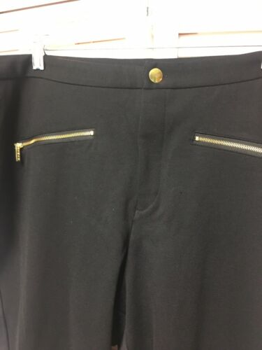 IMAN Women's Size 24W Black Pants With Zippers And Button NWT