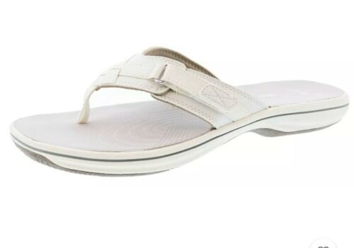 Womens Clark Breeze Sea Light Weight White Flip Flops Sz 8