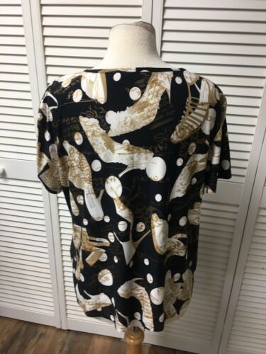"Nygard Women's Size 46"" Chest Short Sleeve Blouse Black/Gold W/ Heels Pattern"