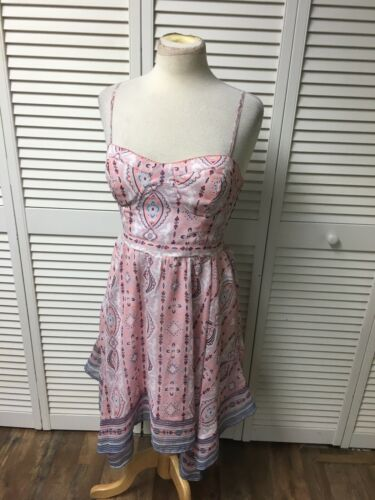 American Eagle Women's Sz M Pink/Blue Dress Flowy Bottom Spaghetti Straps Padded