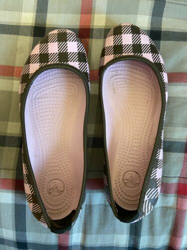 Womens Pink Brown Plaid Ballet Crocs Shoes 6