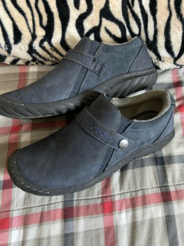 Womens JBU Blue Suede Slip On Comfort Shoes Sz 9.5