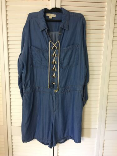 Michael Kors Women's Size XL Denim Romper Long Sleeve Blue Jean Style