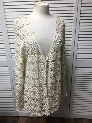 Toffee Apple Women's Size XXL Long Sleeve Lace Cover Shaw With Tie Front