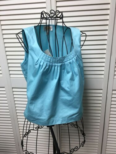 Talbots Petites Women's Size 2 Light Blue Sleeveless Blouse Pleated Neckline