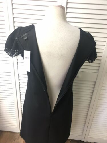 Ann Taylor Women's Size 4 Black Dress Short Sleeves With Zipper In Back NWT