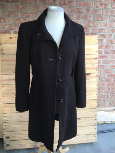 Nine West Women's Size 6 Long Peacoat Brown Button-Down Front