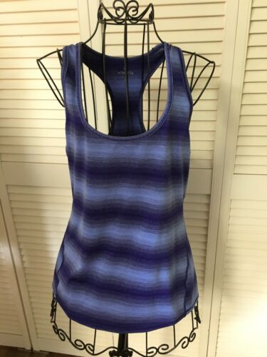 Athleta Women's Size Medium Blue Striped Athletic Tank Top Razor Back