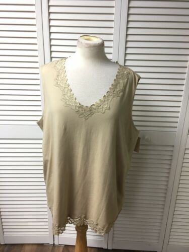 Coldwater Creek Women's Size 24 3X Beige Tank Top With Lace Trim