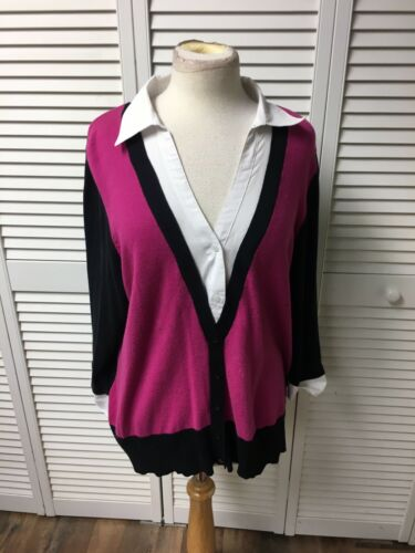 Fashion Bug Women's Size 1X Long Sleeve Sweater W/ Layered Collared Shirt Style