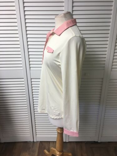 Lady Hagen Women's Size Medium Long Sleeve Blouse Cream Color W/ Pink Accents