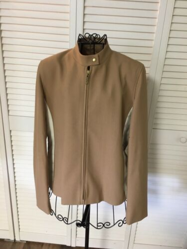 Jax Country Women's Size 8 Beige Coat W/ White Sides Zip Up Front