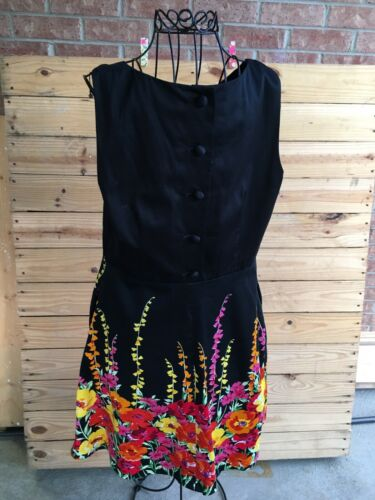 Spense Women's Size 10 Black Dress W/ Multicolor Floral Pattern Side Zipper