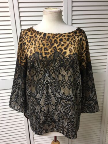 Ann Taylor Women's Size Medium Long Sleeve Blouse Leopard Print Silky Feel