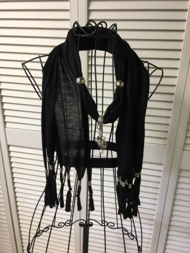 "Black Scarf With Fringes And Beads, Flower Bead, 65"" Length"